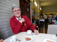 Eddy Phillips enjoys his cuppa at coffee morning